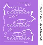 thin line style car assembly... | Shutterstock .eps vector #645900433