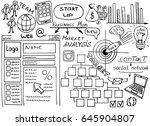 business doodles sketch set ... | Shutterstock .eps vector #645904807