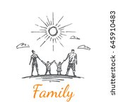 a family of four. clouds fly... | Shutterstock .eps vector #645910483