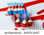 candy bar on boy's birthday... | Shutterstock . vector #645911647