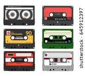 set of retro audio cassettes.... | Shutterstock .eps vector #645912397