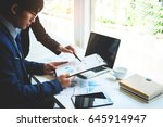young business team working... | Shutterstock . vector #645914947