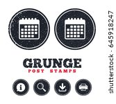 grunge post stamps. calendar... | Shutterstock .eps vector #645918247