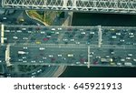 aerial top down view of traffic ... | Shutterstock . vector #645921913
