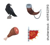 sitting crow  horn with drink ... | Shutterstock .eps vector #645932593