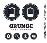 grunge post stamps. battery low ... | Shutterstock .eps vector #645934003