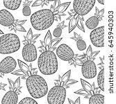 nice pineapple pattern. black... | Shutterstock .eps vector #645940303