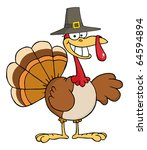 happy turkey cartoon character...   Shutterstock .eps vector #64594894