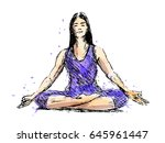 colored hand sketch meditating... | Shutterstock .eps vector #645961447