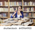 woman in library  student study ... | Shutterstock . vector #645964903