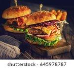 delicious homemade hamburger on ... | Shutterstock . vector #645978787