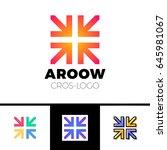 four arrows logo form cross or... | Shutterstock .eps vector #645981067