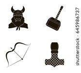 viking in helmet with horns ... | Shutterstock .eps vector #645986737