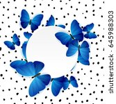 card with exotic tropical blue... | Shutterstock . vector #645988303
