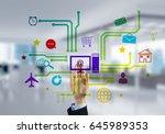 hand of businesswoman touch... | Shutterstock . vector #645989353