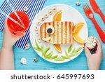 fish sandwich creative idea for ... | Shutterstock . vector #645997693