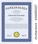 blue certificate diploma or... | Shutterstock .eps vector #646000207