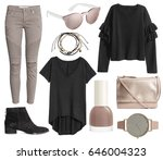a set of fashionable clothes... | Shutterstock . vector #646004323