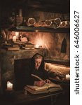 monk chronicler writes an... | Shutterstock . vector #646006627