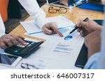 business partners discussing... | Shutterstock . vector #646007317