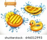 summer. yellow inflatable toys... | Shutterstock .eps vector #646012993