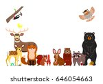 woodland animals background ... | Shutterstock .eps vector #646054663