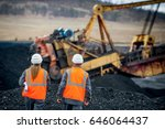 coal mine workers in an open pit | Shutterstock . vector #646064437