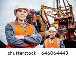 coal mine workers in an open pit | Shutterstock . vector #646064443