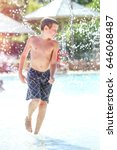 boy playing at a waterpark pool ... | Shutterstock . vector #646068487