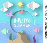 hello summer. paper applique... | Shutterstock .eps vector #646073707