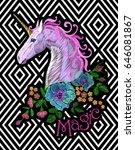 fantasy unicorn embroidery... | Shutterstock .eps vector #646081867