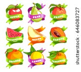 nine stickers with ribbon and... | Shutterstock .eps vector #646083727