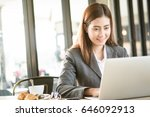 businesswoman using laptop... | Shutterstock . vector #646092913