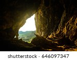 looking thru a natual cave... | Shutterstock . vector #646097347