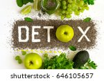 word detox is made from chia... | Shutterstock . vector #646105657