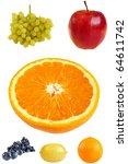 fruit collage  isolated on a... | Shutterstock . vector #64611742