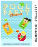 pool party colorful invitation...   Shutterstock .eps vector #646119967