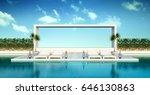 beach living   sun loungers  ... | Shutterstock . vector #646130863