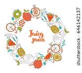 round frame. fruits  apple ... | Shutterstock .eps vector #646142137