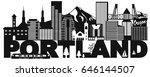 portland oregon outline... | Shutterstock .eps vector #646144507
