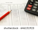 handwritten accounting ledger... | Shutterstock . vector #646151923