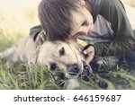 small boy embracing sweetly his ... | Shutterstock . vector #646159687
