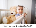 cute toddler in her crib....   Shutterstock . vector #646160683