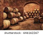 wine barrels in wine vaults in...