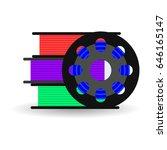 vector flat spool for 3d... | Shutterstock .eps vector #646165147