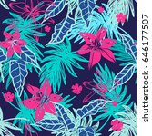 vibrant hand drawn exotic... | Shutterstock .eps vector #646177507