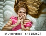 young pretty woman waking up in ... | Shutterstock . vector #646183627