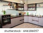 modern kitchen interior made in ... | Shutterstock . vector #646186057