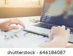woman hand working laptop on...   Shutterstock . vector #646186087