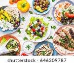 greek food background. meze ... | Shutterstock . vector #646209787